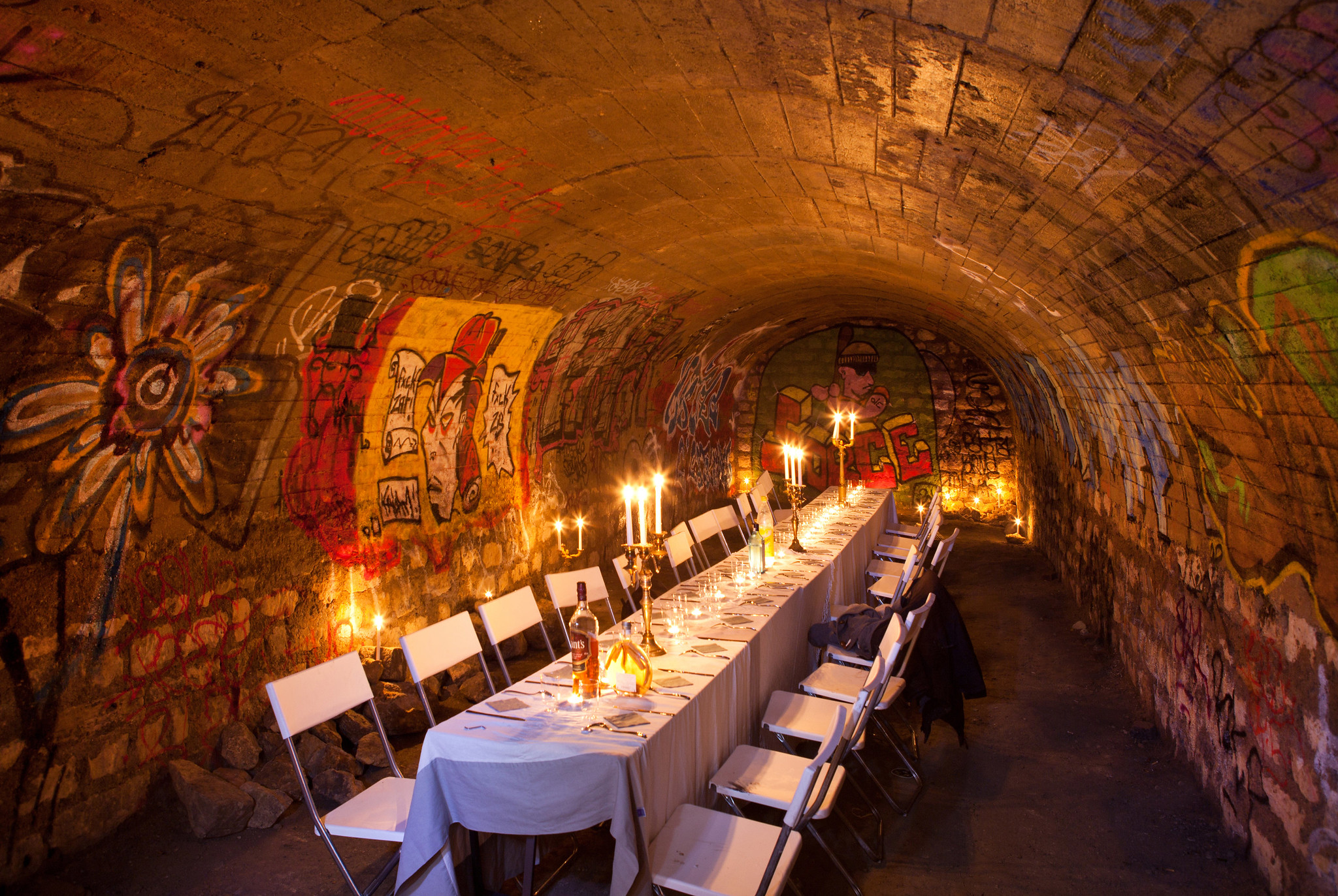 A fancy dinner in the forbidden Catacombs of Paris