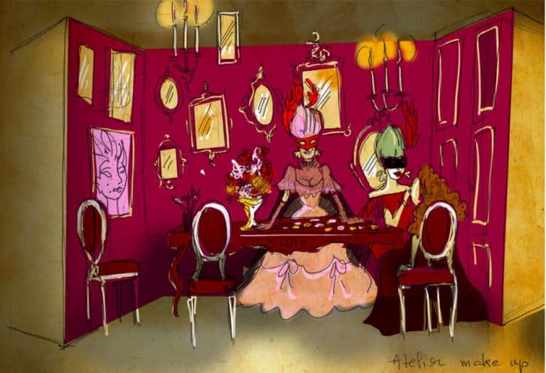 dessin atelier maquillage theme venise rough evenementiel