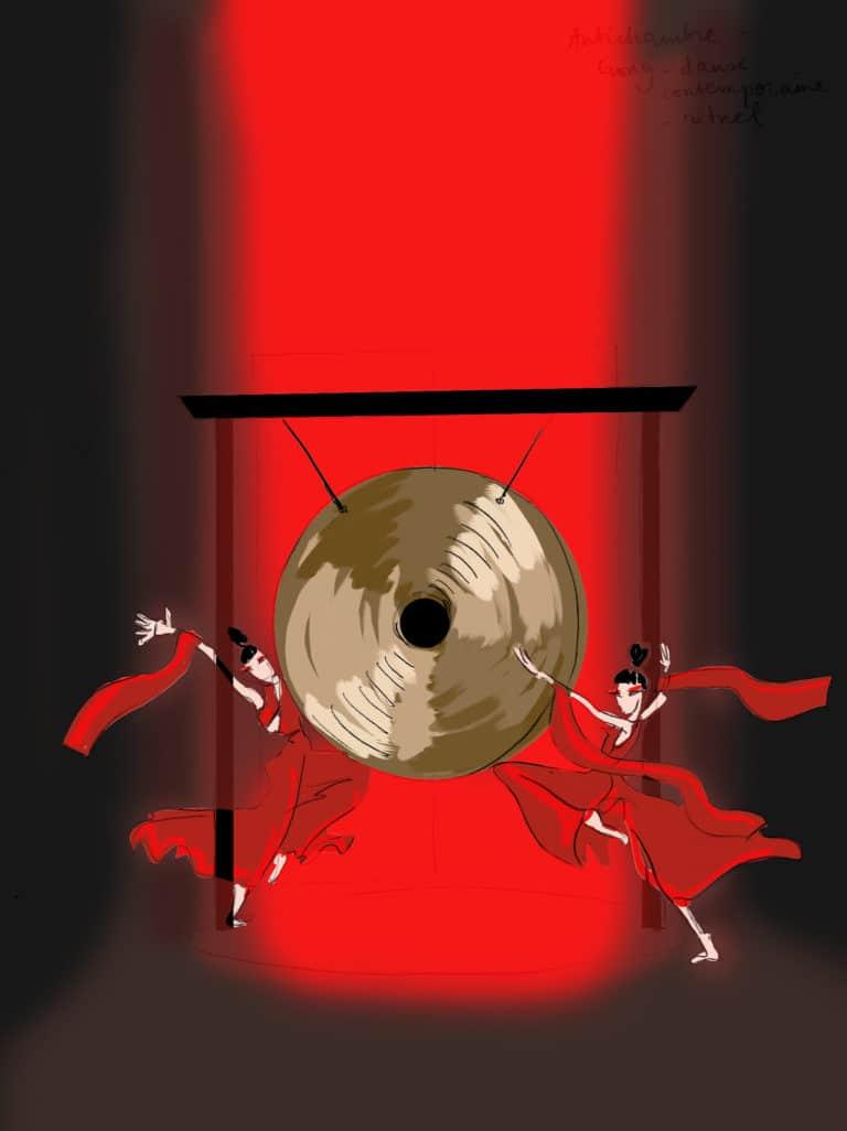dessin danse gong lueur rouge rough evenementiel