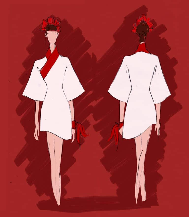 dessin femme kimono blanc lisere rouge rough evenementiel