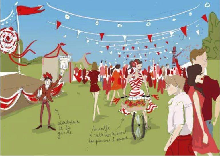 dessin guinguette guirlandes fanions rouges et blanc rough evenementiel