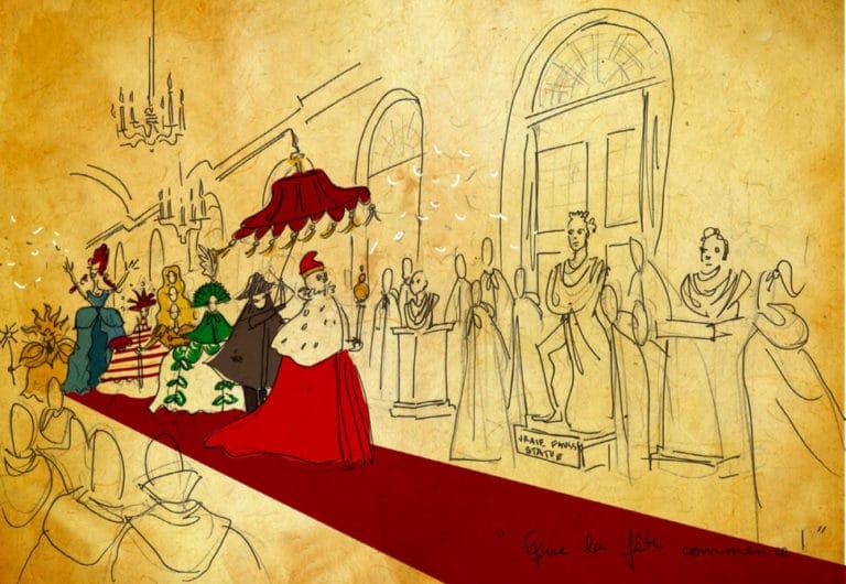 dessin parade avec le doge soiree theme venise orangerie de sceaux rough evenementiel