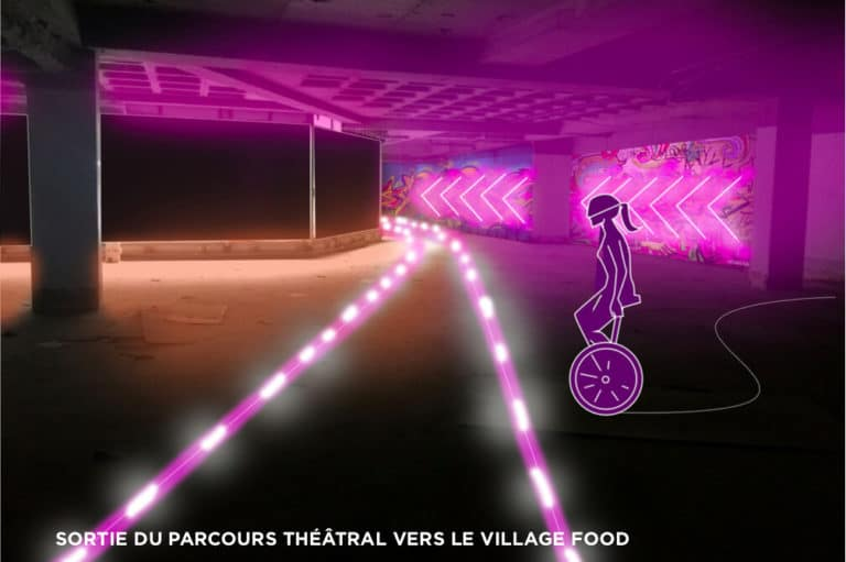 dessin parcours theatral futuriste rough evenementiel