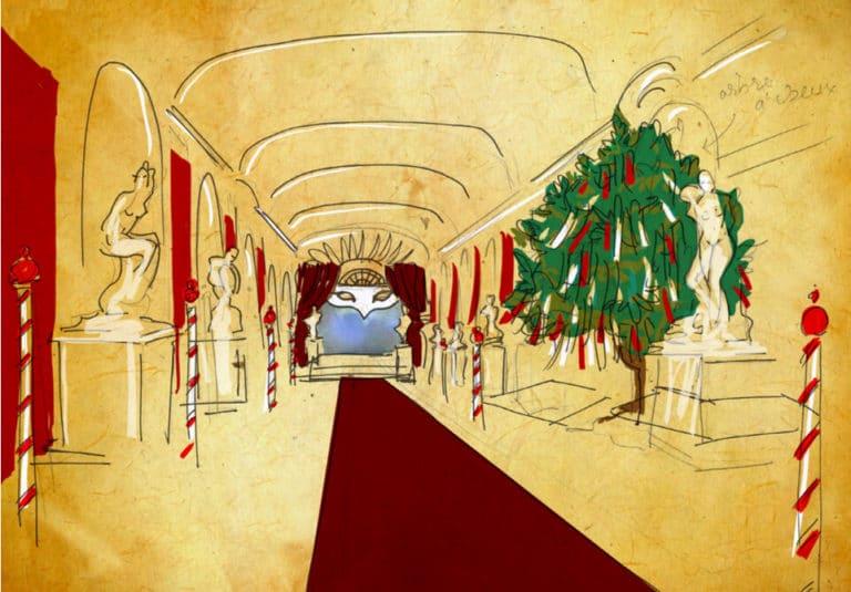 dessin scenographie theme venise orangerie de sceaux rough evenementiel