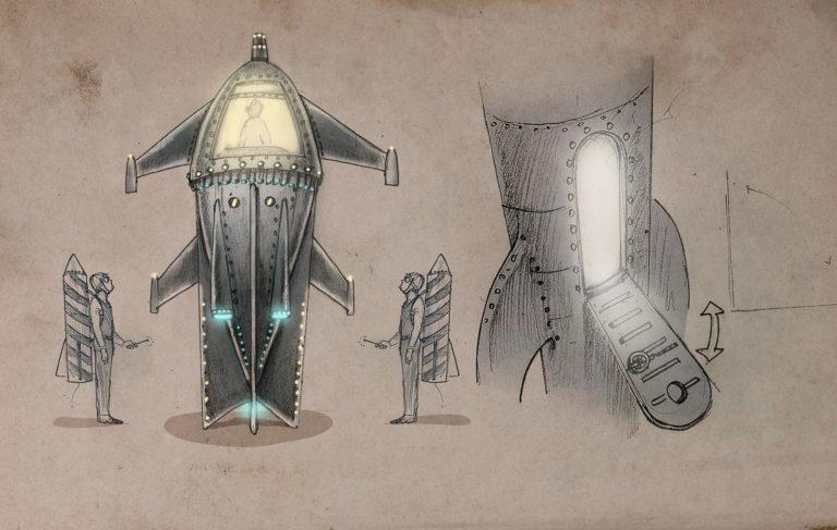 planche dessin vaisseau spatial porte ouverte rough evenementiel