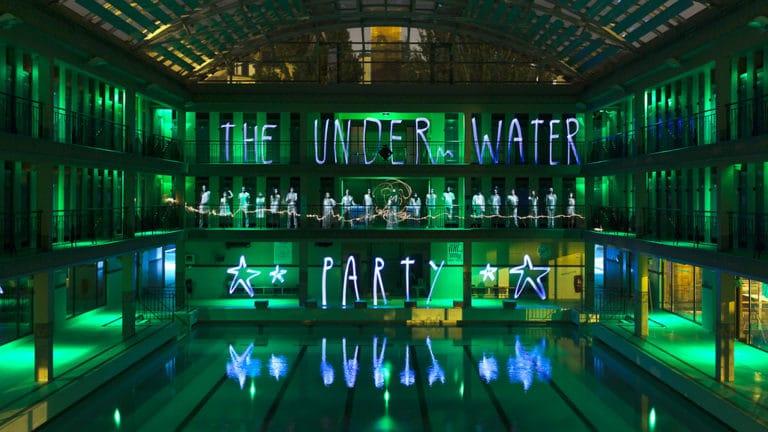 lightpainting Jadikan piscine pailleron espace sportif pailleron Paris 19 france teaser the underwater party soirée wato agence wato we are the oracle evenementiel events