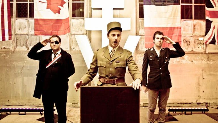 Gregoire Desrousseaux acteur général De Gaulle képi Croix de Lorraine Abri Lefebvre anti atomique paris 15 e arrondissement France Victorious Shelter agence wato we are the oracle events
