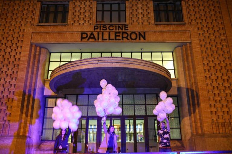 exterieur picine pailleron ballons scenographie sur mesure soiree exceptionelle 10 ans espace sportif pailleron ucpa agence wato we are the oracle evenementiel events