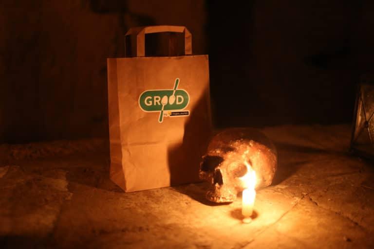 sac brande grood crane bougies dejeuner insolite dans les catacombes carriere de calcaire merci alfred applicaiton grood paris france agence wato we are the oracle evenementiel event