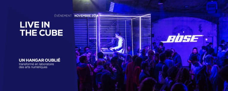 dj cube plexiglas lancement de produit ancienne gare frigorifique bercy france lancement casque bose soundtrue live in the cube bose agence wato we are the oracle evenementiel events