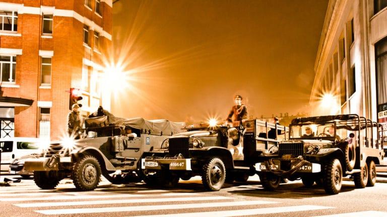 soldats blindé jeep véhicules militaires seconde guerre mondiale Paris France photoshoot soirée exceptionnelle Victorious Shelter agence wato we are the oracle evenementiel events