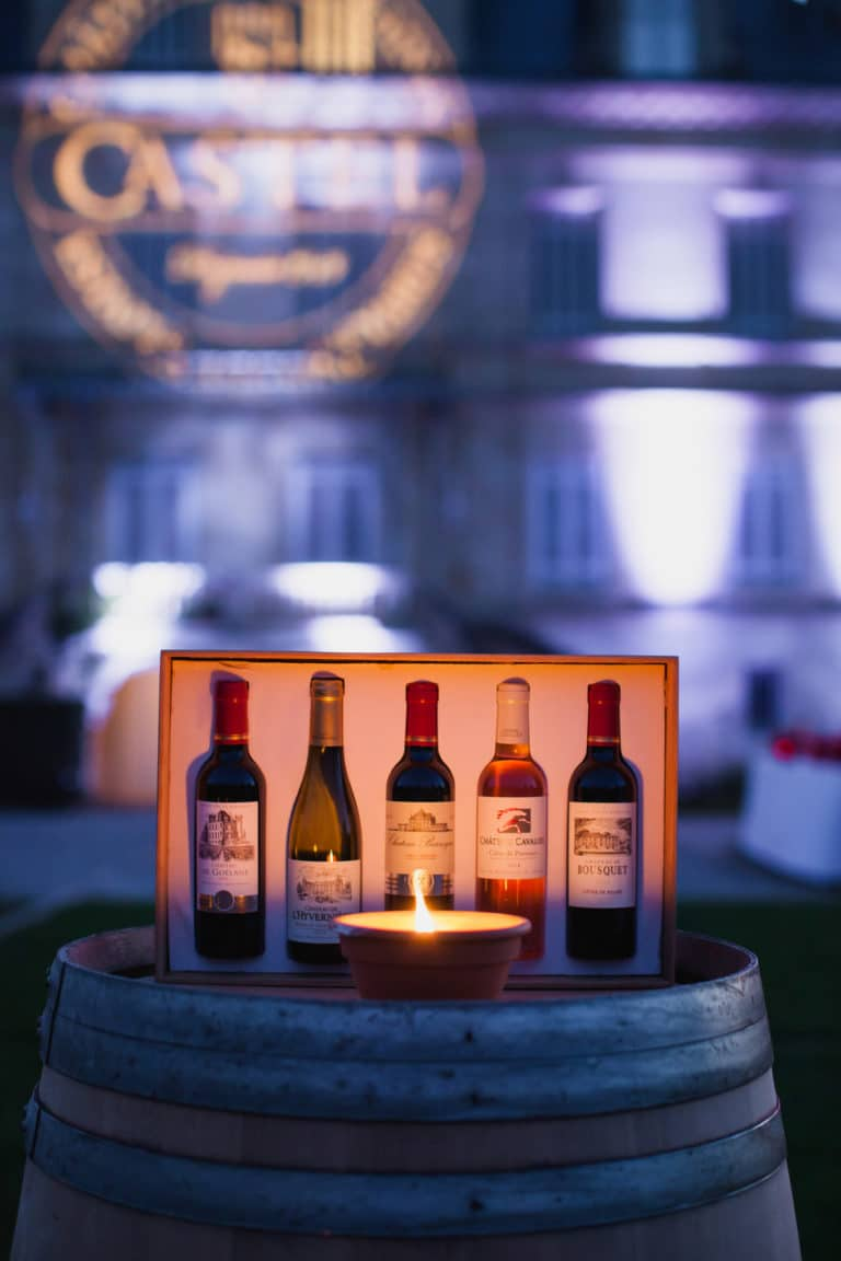 packshot bouteilles de vin castel group gobo sur mesure canopée castel dîner de prestige chateau Barreyres haut-médoc france groupe castelagence wato we are the oracle evenementiel event