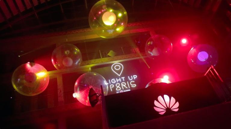 lancement huawei p8 logo geant bulles scène djwato-agence-evenementielle-huawei-soirée