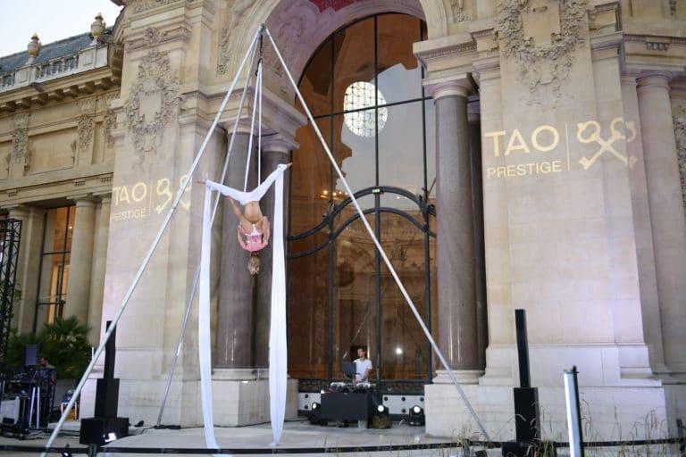 luna maud selwan performance aerienne gobos logo tao prestige conciergerie de luxe 10 ans jardin petit palais paris france agence wato we are the oracle evenementiel event