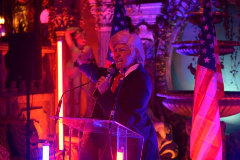 Louise De Ville transformiste Trump discours loft baroque paolo calia paris france diner leboncoin thème usa américain agence wato we are the oracle evenementiel events