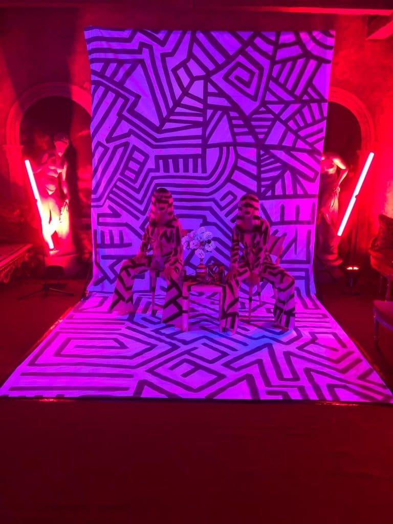 bodypainting actrices photocall personnalisé loft baroque paolo calia paris 19 arrondissement france soirée privée stripes agence wato we are the oracle evenementiel event