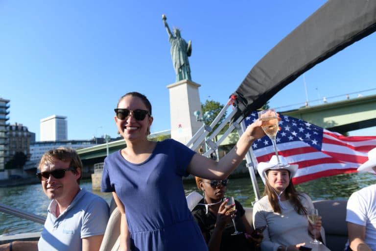 croisière bateaux luxe champagne seine drapeau usa statue de la liberté paris france diner leboncoin thème usa américain agence wato we are the oracle evenementiel events
