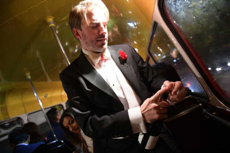 foulques jubert champagne bus double etages imperial anglais fun agence wato evenementiel vp members club soiree theme downton abbey two temple place londres bus anglais