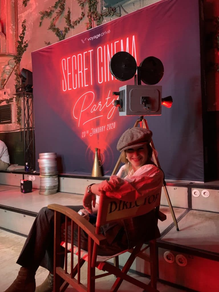 hyomi legendre actrice photocall soiree voyage prive metteur en scene evenementiel theme cinema vintage madrid agence wato
