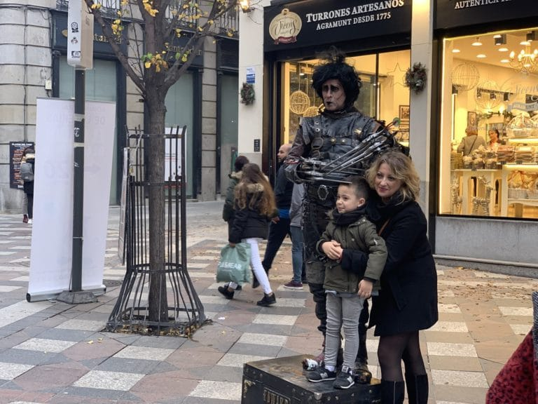 Edward Scissorhands Street performer Madrid Spain