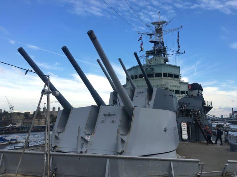 zoom canons HMS Belfast London war boat on the thames united kingdom