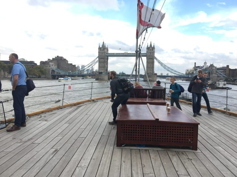HMS Belfast deck view on the london bridge warship london uk