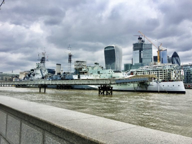 HMS-Belfast-warship-river thames-london-uk-museum-cloudy-day