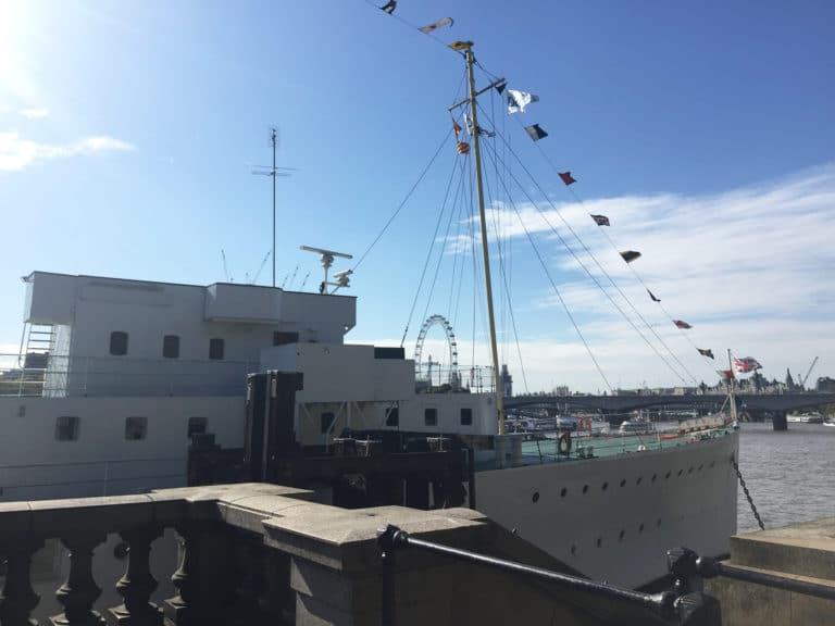 HMS-Wellington-boat-river-thames-small-flags-london-uk