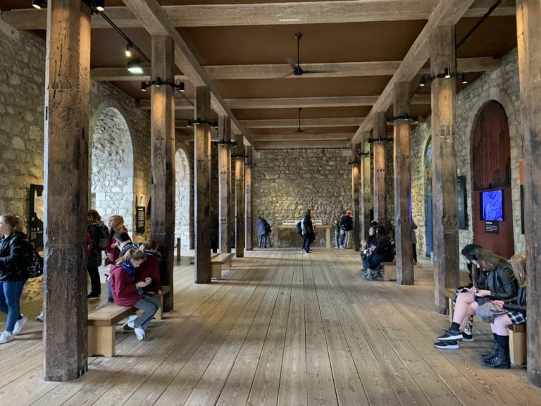 inside the white tower large wooden room event location tower of london united kingdom
