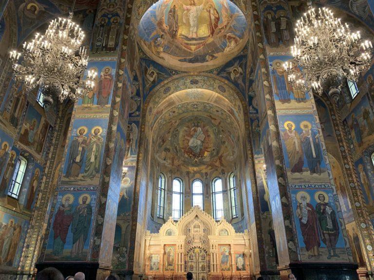 interieur cathedrale saint sauveur sur le sang verse nef chasse de lieux saint petersbourg russie