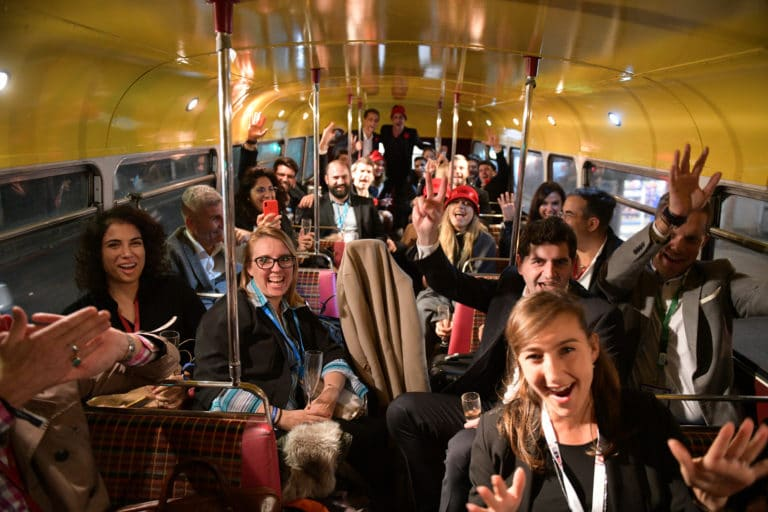 party in a british bus london route master hire double decker bus champagne londres UK