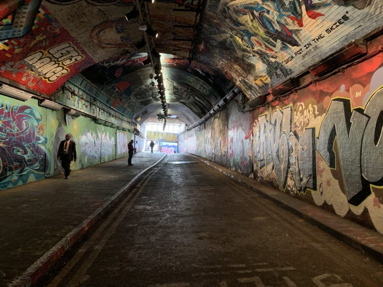 street art tunnel london covered with graffitis united kingdom