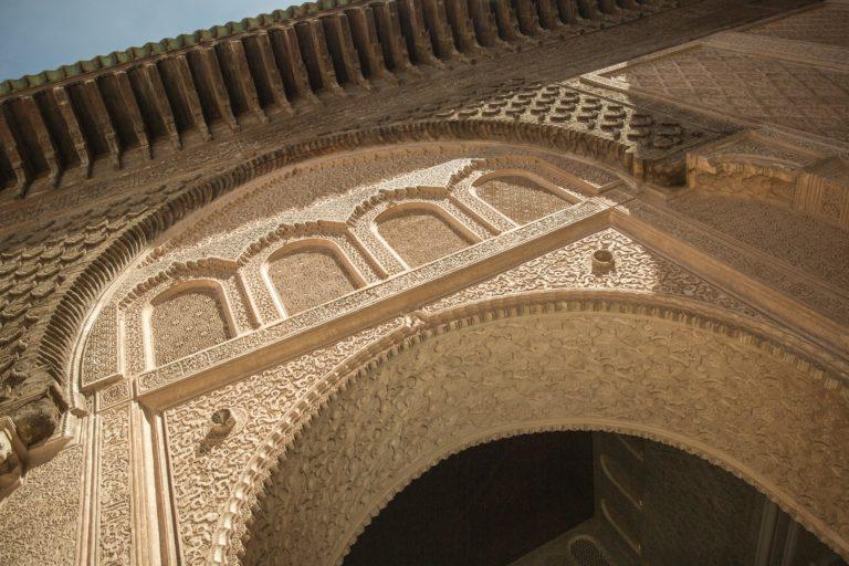 zoom detail medersa benyoussef ecole coranique marrakech maroc