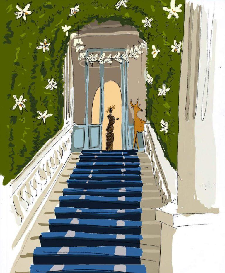 dessin escalier verdure evenementiel
