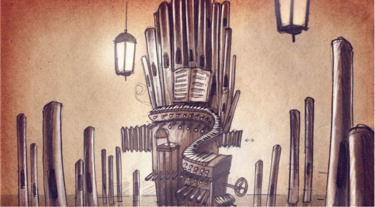 dessin orgue flottant venise sous paris rough evenementiel