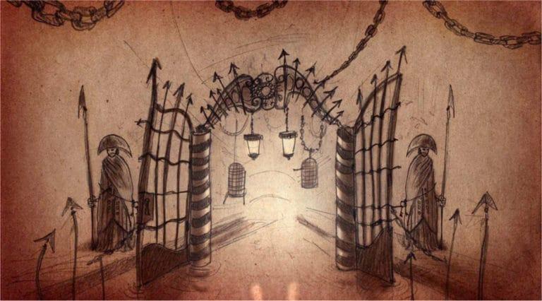 dessin portes de prison mystiques venise sous paris rough evenementiel