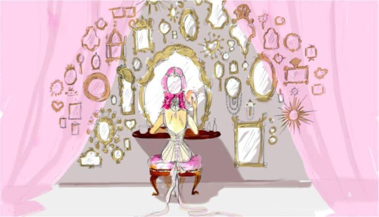 dessin scene courtisane et miroirs rough venise sous paris evenementiel