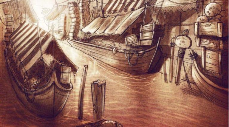 dessin scene des marchands venise sous paris rough evenementiel