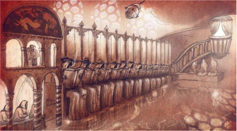 dessin scene des moines venise sous paris rough evenementiel