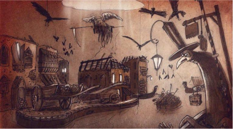 dessin scene la peste venise sous paris rough evenementiel