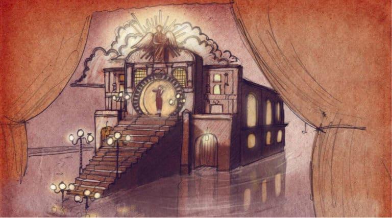 dessin scene opera flottant escaliers venise sous paris rough evenementiel