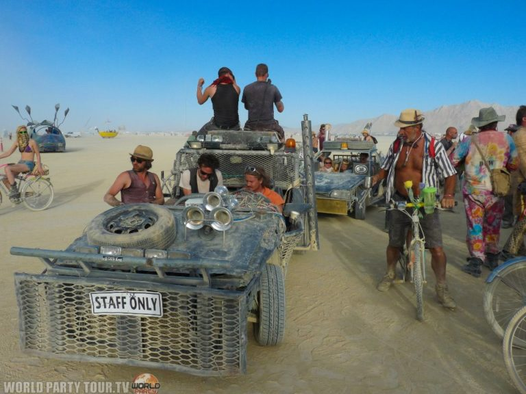 mad max cars burning man 2011 world party tour