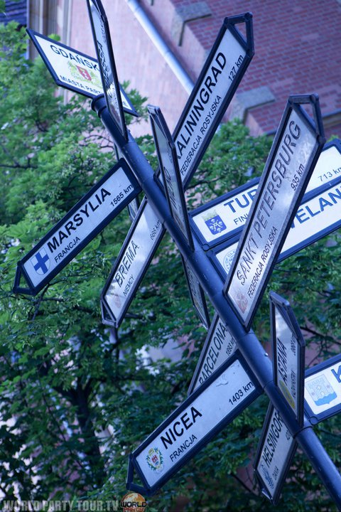panneau de direction a gdansk pologne 2011
